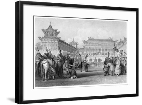 The Emperor Teaou-Kwang Reviewing His Guards, Palace of Peking, China, 19th Century-JB Allen-Framed Art Print