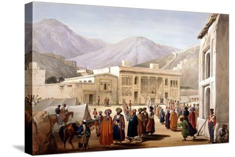 Shah Shoja, Puppet of the British, Holding a Durbar at Kabul, First Anglo-Afghan War, 1838-1842-James Atkinson-Stretched Canvas Print