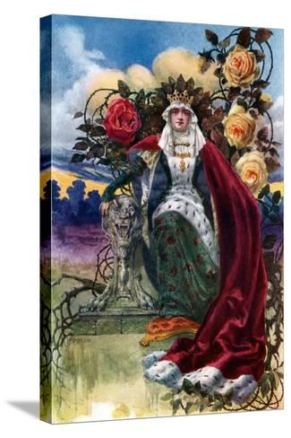 A Queen of Roses, 1908-1909-JH Valda-Stretched Canvas Print