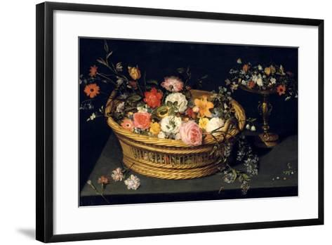 Flower Basket and Goblet in Gilded Silver, Still Life, 17th Century-Jan Bruegel the Younger-Framed Art Print