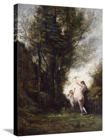 A Nymph Playing with Cupid, 1857-Jean-Baptiste-Camille Corot-Stretched Canvas Print