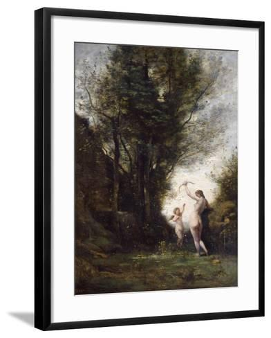 A Nymph Playing with Cupid, 1857-Jean-Baptiste-Camille Corot-Framed Art Print