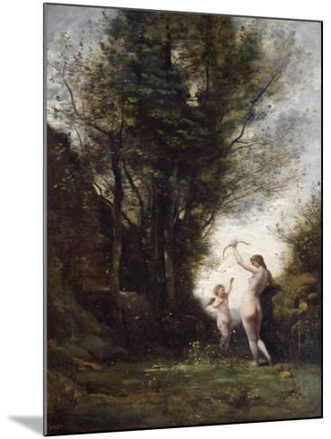 A Nymph Playing with Cupid, 1857-Jean-Baptiste-Camille Corot-Mounted Giclee Print
