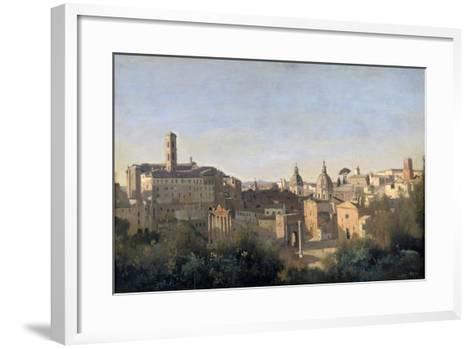 The Forum Seen from the Farnese Gardens, Rome, 1826-Jean-Baptiste-Camille Corot-Framed Art Print