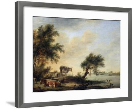 Landscape with a Herd, 18th Century-Jan Jansson-Framed Art Print