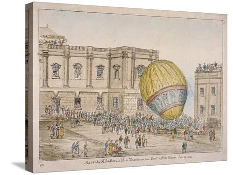 Hot Air Balloon in the Courtyard of Burlington House, Piccadilly, Westminster, London, 1814-James Gillray-Stretched Canvas Print