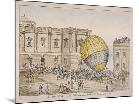 Hot Air Balloon in the Courtyard of Burlington House, Piccadilly, Westminster, London, 1814-James Gillray-Mounted Giclee Print