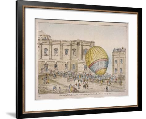Hot Air Balloon in the Courtyard of Burlington House, Piccadilly, Westminster, London, 1814-James Gillray-Framed Art Print
