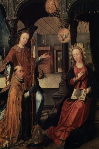 The Annunciation, (Triptych, Central Pane), 1517-Jean Bellegambe-Stretched Canvas Print