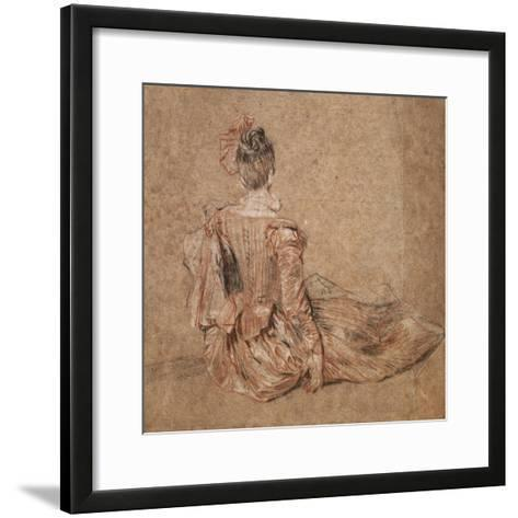 Study of a Woman Seen from the Back, 1716-1718-Jean-Antoine Watteau-Framed Art Print