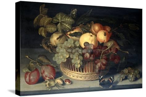 Basket of Fruit and Admiral Butterfly on Stone Table, 1610-Joannes Busschaert-Stretched Canvas Print