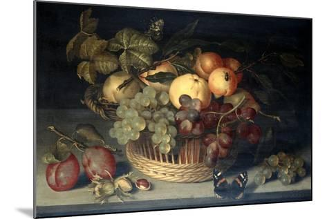 Basket of Fruit and Admiral Butterfly on Stone Table, 1610-Joannes Busschaert-Mounted Giclee Print