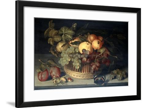 Basket of Fruit and Admiral Butterfly on Stone Table, 1610-Joannes Busschaert-Framed Art Print