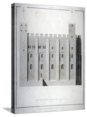 South Elevation of the White Tower, Tower of London, 1815-James Basire II-Stretched Canvas Print