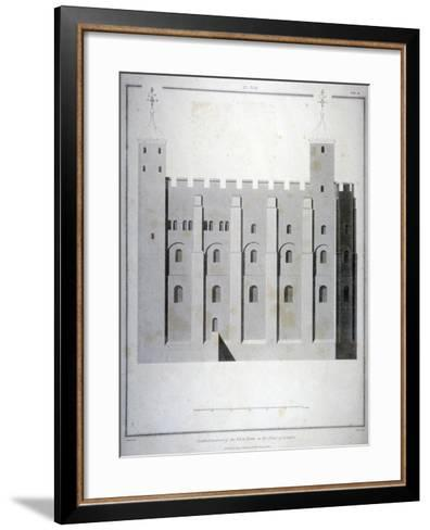 South Elevation of the White Tower, Tower of London, 1815-James Basire II-Framed Art Print