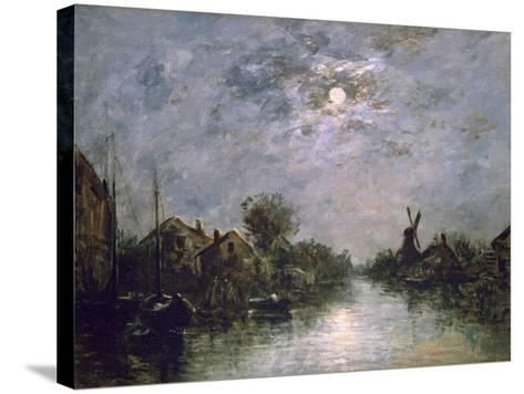 Dutch Channel in the Moonlight, C1840-1891-Johan Barthold Jongkind-Stretched Canvas Print