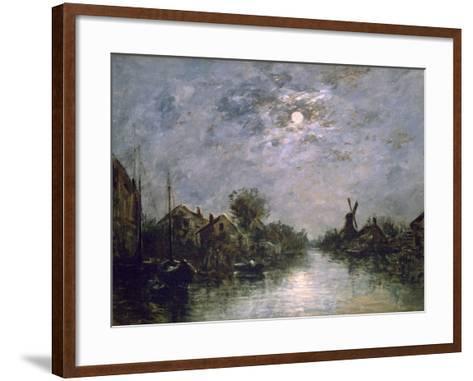 Dutch Channel in the Moonlight, C1840-1891-Johan Barthold Jongkind-Framed Art Print