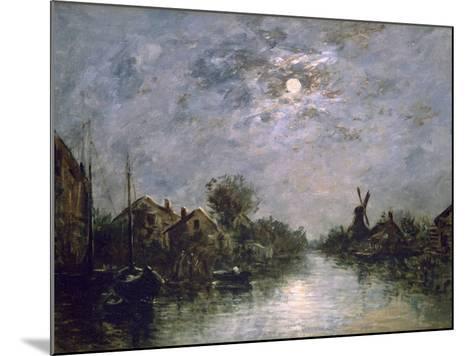 Dutch Channel in the Moonlight, C1840-1891-Johan Barthold Jongkind-Mounted Giclee Print