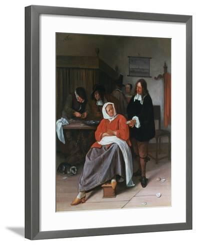 A Man Offering an Oyster to a Woman, C1660-1665-Jan Steen-Framed Art Print