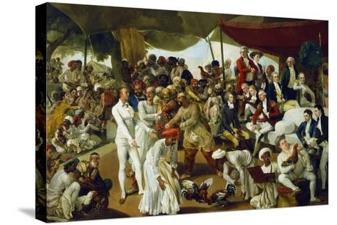 Colonel Mordaunt Watching a Cock Fight at Lucknow, India, 1790-Johan Zoffany-Stretched Canvas Print