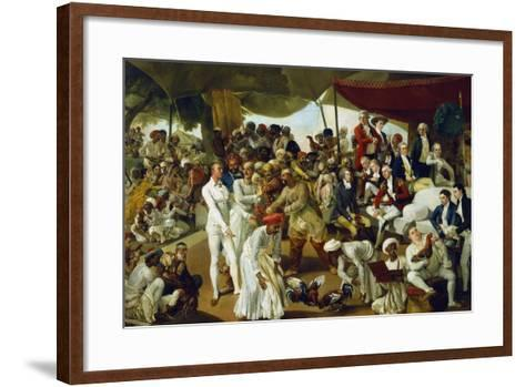 Colonel Mordaunt Watching a Cock Fight at Lucknow, India, 1790-Johan Zoffany-Framed Art Print