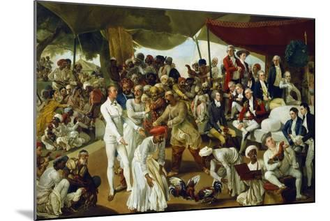 Colonel Mordaunt Watching a Cock Fight at Lucknow, India, 1790-Johan Zoffany-Mounted Giclee Print