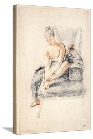 Young Woman, Nude, Holding One Foot in Her Hands, 1716-18-Jean-Antoine Watteau-Stretched Canvas Print
