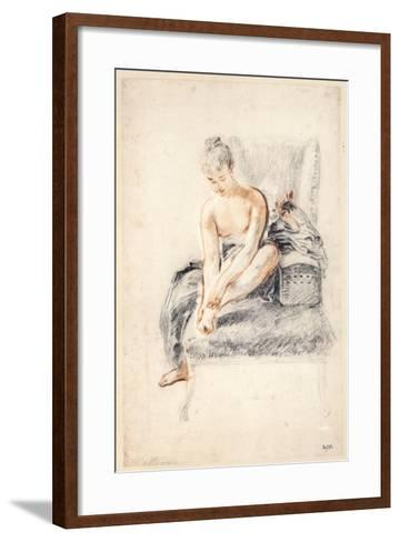 Young Woman, Nude, Holding One Foot in Her Hands, 1716-18-Jean-Antoine Watteau-Framed Art Print