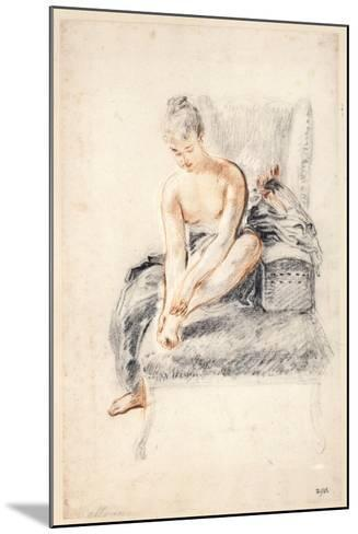 Young Woman, Nude, Holding One Foot in Her Hands, 1716-18-Jean-Antoine Watteau-Mounted Giclee Print