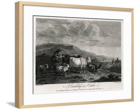 A Landskip and Cattle, 1774-James Roberts-Framed Art Print