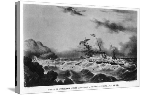The Wreck of the Steamship 'Union' on the Coast of Lower California, 1851-John Henry Bufford-Stretched Canvas Print