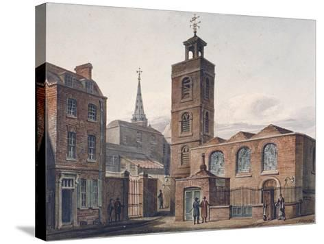 North View of the Church of St James, Duke's Place and Adjacent Buildings, City of London, 1810-John Coney-Stretched Canvas Print