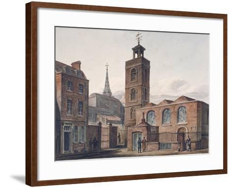 North View of the Church of St James, Duke's Place and Adjacent Buildings, City of London, 1810-John Coney-Framed Art Print