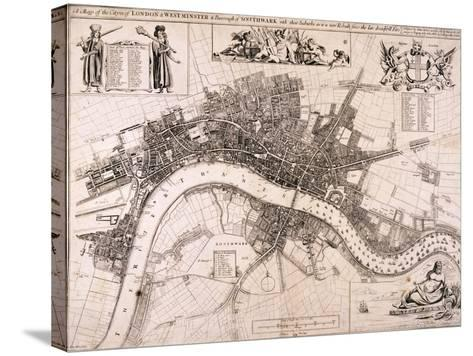 Map of London, C1680-John Oliver-Stretched Canvas Print