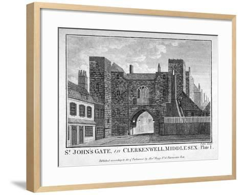 View of St John's Gate, Clerkenwell, London, C1790-John Peltro-Framed Art Print