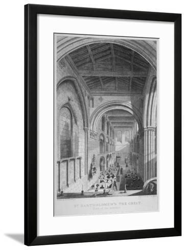 People in Pews Inside the Church of St Bartholomew-The-Great, Smithfield, City of London, 1837-John Le Keux-Framed Art Print