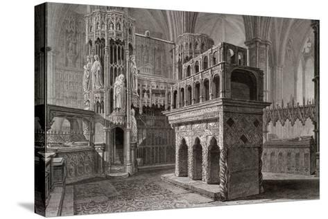 Edward the Confessor's Mausoleum, in the King's Chapel, Westminster Abbey, London, C1818-John Le Keux-Stretched Canvas Print