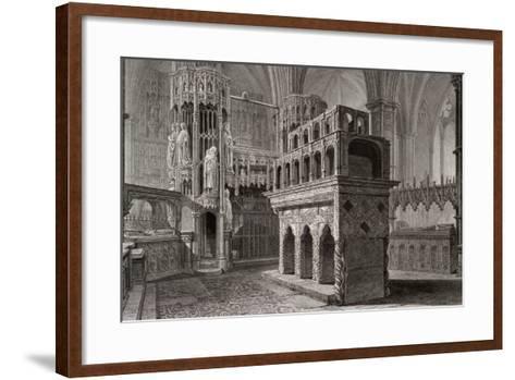 Edward the Confessor's Mausoleum, in the King's Chapel, Westminster Abbey, London, C1818-John Le Keux-Framed Art Print