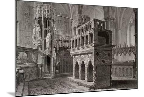 Edward the Confessor's Mausoleum, in the King's Chapel, Westminster Abbey, London, C1818-John Le Keux-Mounted Giclee Print