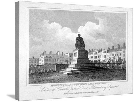 View of the Statue of Charles James Fox in Bloomsbury Square, Bloomsbury, London, 1817-John Greig-Stretched Canvas Print