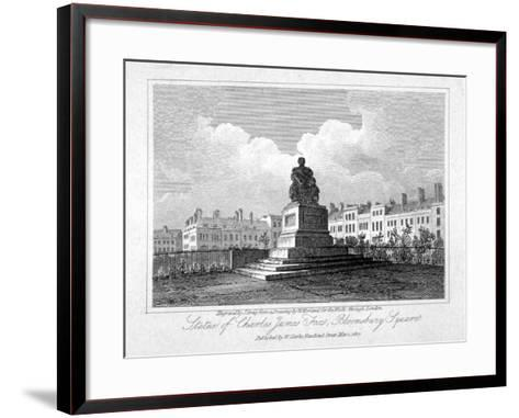 View of the Statue of Charles James Fox in Bloomsbury Square, Bloomsbury, London, 1817-John Greig-Framed Art Print