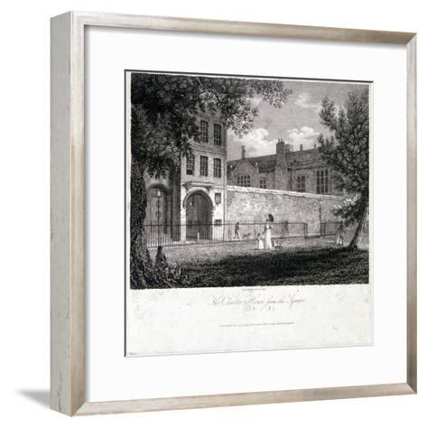 View of Charterhouse from the Square with Figures, Finsbury, London, 1804-John Greig-Framed Art Print