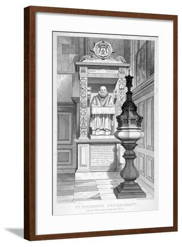 Monument to John Stow and Font in St Andrew Undershaft, 1837-John Le Keux-Framed Art Print