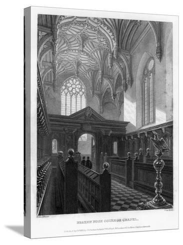 Brazen Nose (Brasenos) College Chapel, Oxford University, 1835-John Le Keux-Stretched Canvas Print