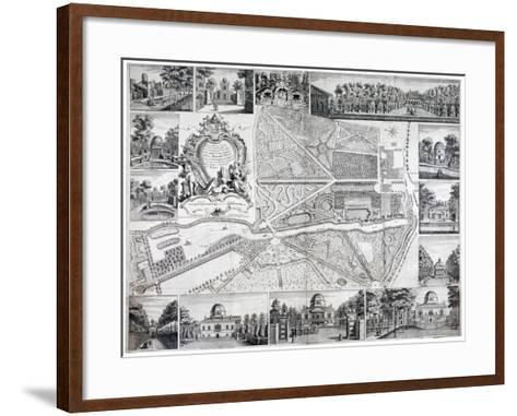 Map of Chiswick in the London Borough of Hounslow, 1736-John Rocque-Framed Art Print