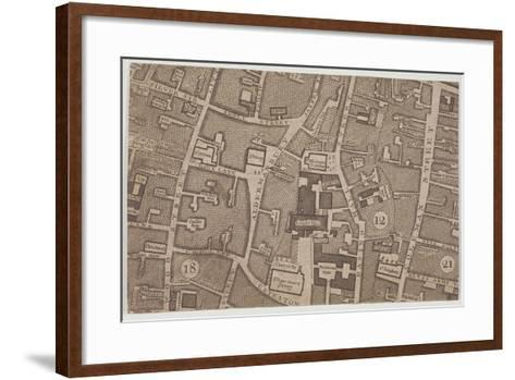 Plan of Guildhall and the Neighbourhood around Guildhall, London, 1747-John Rocque-Framed Art Print