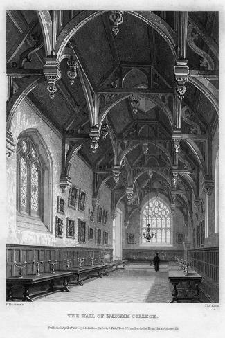 The Hall of Wadham College, Oxford University, 1836-John Le Keux-Stretched Canvas Print