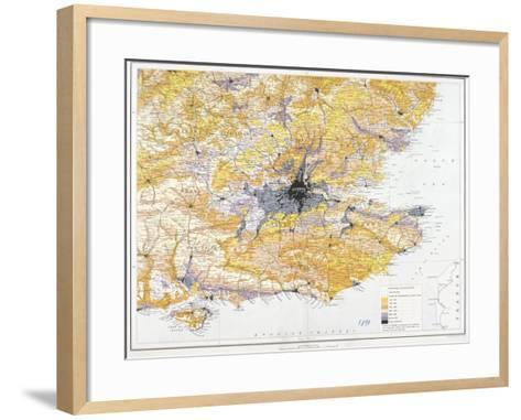 Map of London and South-East England, 1891-John Bartholomew-Framed Art Print