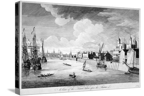 View of the Tower of London with Boats and Passengers on the River Thames, 1751-John Boydell-Stretched Canvas Print
