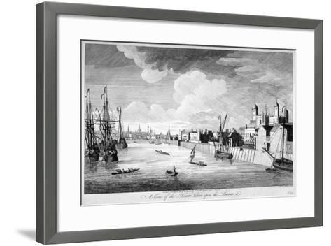 View of the Tower of London with Boats and Passengers on the River Thames, 1751-John Boydell-Framed Art Print